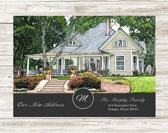 New home moving announcement - Color | custom house sketch