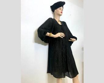 Black Gold 1970s Gypsy Witch Dress