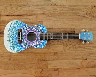 Concert Size Hand painted white mandala ukulele