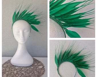 Ladies green feather headband fascinator