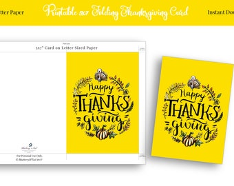 Thanksgiving card, Thanksgiving cards printable, Happy Thanksgiving card,Yellow Harvest Card, Thanksgiving card download,Instant Download