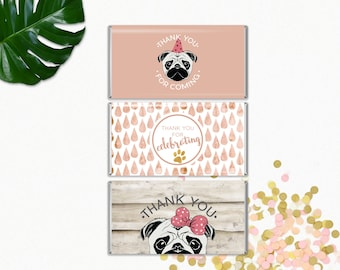 Printable Party Pug Chocolate Bar Wrappers