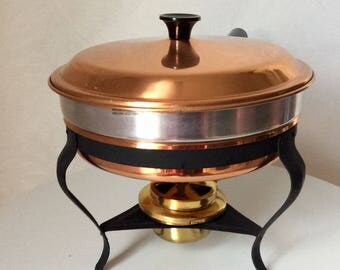 Vintage Benjamin and Medwin Duro ,Made in Korea,Copper Chafing Dish with Warmer, Copper and Brass, 2 Quart Fondue Pan,