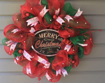 Christmas Wreath for Front Door, Christmas Wreath, Christmas Decor, Front Door Wreath, Mesh Christmas Wreath, Red Green Christmas Wreath