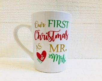 Our First Christmas Mug / First Christmas / Mr & Mrs mug / Christmas 2017 mug / Cool mug / fun mug / friend  / wife / husband
