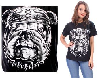Dog Print T-Shirt 90s Vintage Amsterdam Printed Black Grey Bulldog Tee Hipster Screenprint 1990s Cotton Unisex Men Women Tee Shirt . Small