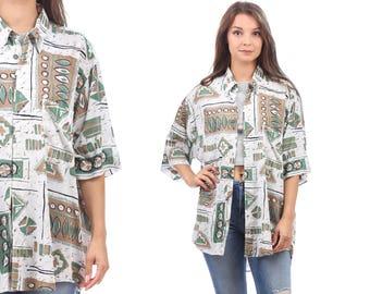 Aztec Summer Shirt 90s Oversized Abstract Print Shirt Men Women White Green Beige Geometric Patterned Summer Shirt size XL