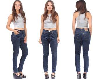 Mom Levis Slim Fit Jeans 501 90s Denim High Waist Frayed Distressed Pants Zip Up Trousers Classic Vintage Waist W31 L32 Medium