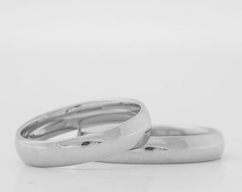 Wedding ring white gold polished I 8 karat I 4mm