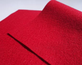 "100% Wool Felt Sheet in Color CHRISTMAS RED - 18"" X 18"" Wool Felt Sheet - Merino Wool Felt - European Wool Felt"