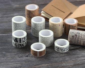 Vintage Style Paper Washi Tape Set - Planner, Journal, Craft, Scrapbooking, Decoration