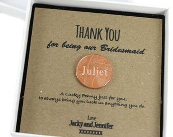 Personalised Thank You for being my bridesmaid  Lucky Penny Coin Keepsake Gift,  Lucky Penny Gift