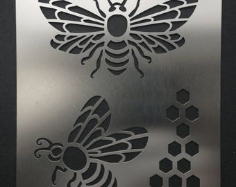 Honey Bee Honeycomb Stainless Steel Stencil Template 11.5cm x 9cm