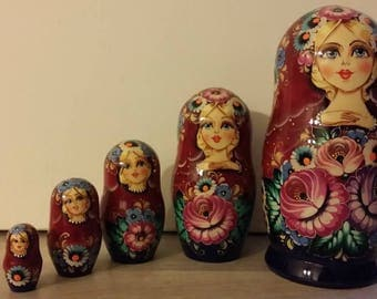 Russian doll, doll nesting matryoshka flowers 5 pieces