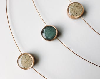 sand+sea reversible necklace - recycled copper pendant made with real Lake Michigan beach sand - flexible copper cable - minimal design