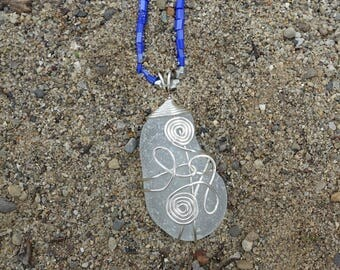 Genuine Sea Glass Wire Wrapped Pendant Necklace, Unique One of a Kind Gift for Her, Beach Jewelry, Boho, Ocean Jewelry, Christmas Gift