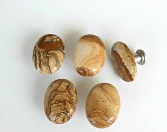 Large PICTURE JASPER GEMSTONE Cabinet Knobs – Natural Polished Stone Pulls - Home Decor