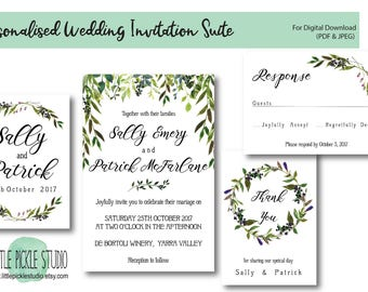 Greenery U0026 Berries Wedding Invitations, Rustic Botanical Invitation Suite, Wedding  Invitation Suite, Personalised