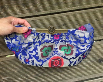 MISCHA BARTON Bag, Clutch, flower embroidery, brocade, brass closure