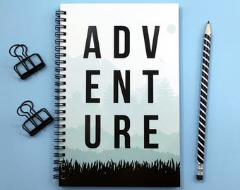 Writing journal, spiral notebook, bullet journal, cute notebook, diary, sketchbook, mountains, blank lined grid paper - Adventure