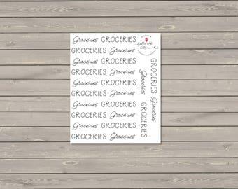 Groceries Script Stickers