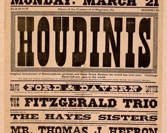 Vintage Houdini's Smiths Opera House Theatre Poster Art Print Picture A4