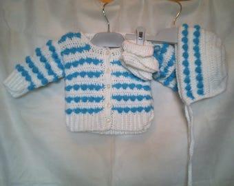 Crochet Baby Popcorn Jacket, Bonnet & Booties
