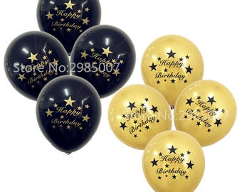 12pcs/lot happy birthday letters balloons party decorations golden black printed Helium Ballons for birthday party supplies