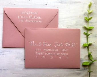 custom hand lettered calligraphy wedding invitations wedding envelope addressing - Calligraphy Wedding Invitations