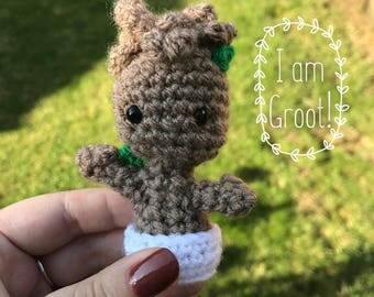 Mini Groot // Mini  Baby Groot // Guardians of the Galaxy // Tiny  Pop // Keyring // Keychain // Magnet // Marvel // Fandom// Crochet
