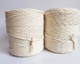 Macrame cord 4mm cotton rope. 3 kg twisted cotton rope. About 560 m macrame rope cotton. Cotton cord macrame