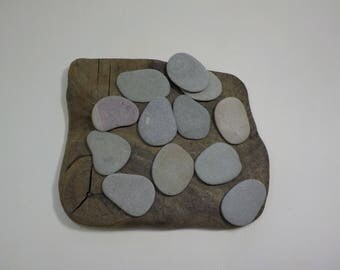 "12 Flat Beach Stones 1.5-1.7""/4-4.5 cm   Sea Stones - Flat Beach Pebbles - Decorative Beach Finds #35"
