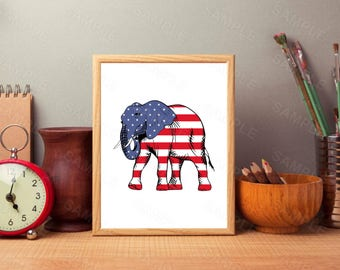 USA, American Flag Elephant, Wall Art, Printable Art, Wall Art, Instant Download