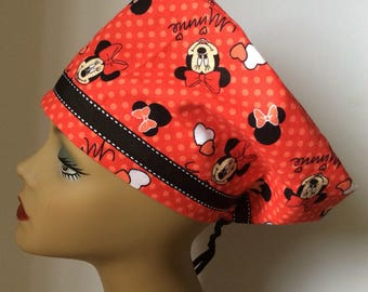 MINNIE MOUSE SCRUB hat with hearts and  coordinating ribbon