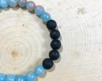 Essential Oil Diffuser Bracelet | Blue Sea Sediment | Jasper | Semi Precious | Natural Stone | Gift for Her | Healing Bracelet | Zen Gift