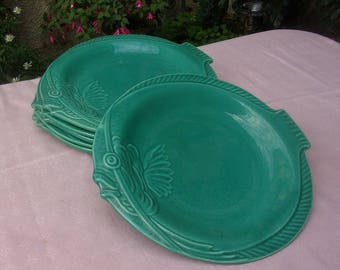 vintage French majolica fish or 6 plates