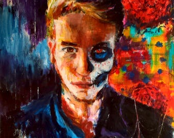 Day of the Dead Custom Portrait Painting. Original Acrylic Painting