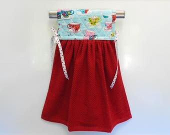 Tea Cups Blue & Red Hanging Kitchen Hand Towel Quilted Cotton Pot Holder Coordinating Ribbon Ties onto any kitchen appliance handle