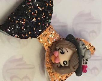 Halloween witch charm glitter bow on crocodile clip girls