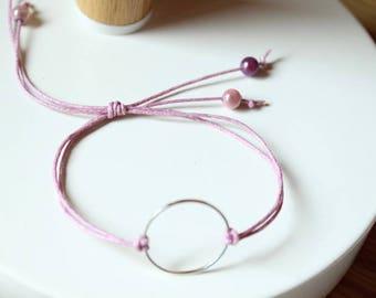 adjustable bracelet, silver metal ring, purple pink magic beads and purple cotton