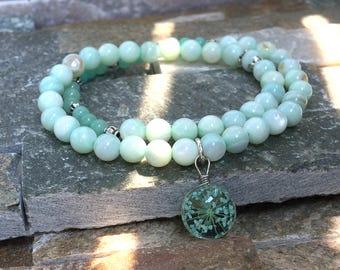 Real flowers bracelet shell beads jade summer