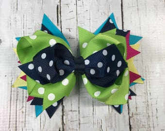 "5 1/2"" Stacked  Multicolor Multicolor Hairbow"