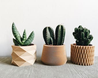 Set of 3 small geometric Pots / Planters Design Hygge printed in Wood perfect for succulents or cacti !