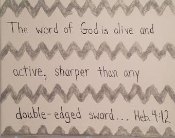 "Hebrews 4:12 Scripture Canvas - 11"" x 14"""