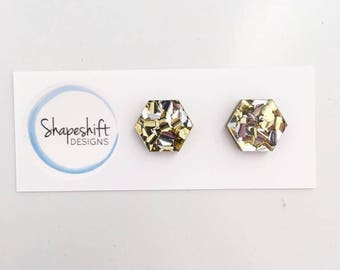 Chunky Silver and Gold Glitter Acrylic Stud Earrings - 12mm Hexagon