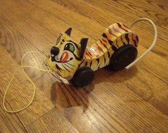 Fisher Price Tawny Tiger 1961 Pull Toy