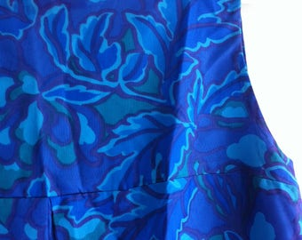 1960's Blue Shift Dress, handmade, excellent condition, size 12, silk rayon.
