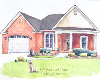 House portrait, new home, custom house portrait, first home, housewarming gift, realtor gift, watercolor house painting, christmas gift