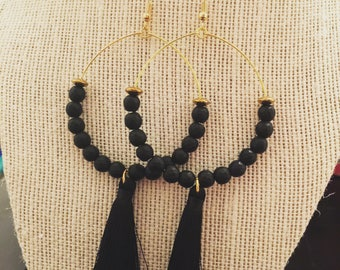 Black/gold tassel earrings