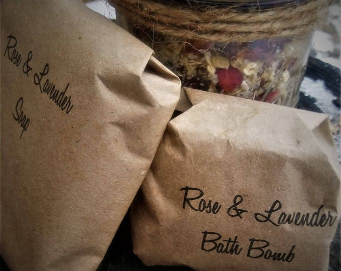 Rose and Lavender Herbal Bath Set (Valentine's Day Gift)